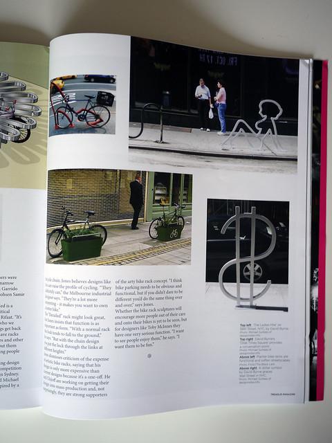 David Byrne Bike Racks Photos I Shot are in the Australian Bike Magazine Treadlie