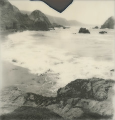coastline (lawatt) Tags: ocean film beach silver polaroid coast rocks pacific uv pointreyes slr680 kehoe theimpossibleproject px600 roidweek2011 poorpod