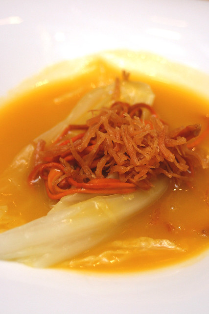 Simmered Cabbage topped with Cordycep Flower in Pumpkin Soup