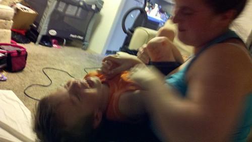 Kali tickling Judah!