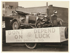 """[""""Don't depend on luck. This driver did."""" Wrecked car used for NRMA advertisement], c. 1930 by Sam Hood (State Library of New South Wales collection) Tags: statelibraryofnewsouthwales"""
