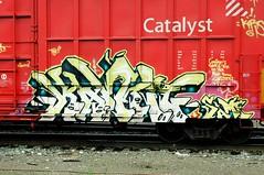 Kamit (A & P Bench) Tags: red canada train graffiti steel grain canadian national graff hopper railfan freight rolling benc burners rollingstock fr8 benching