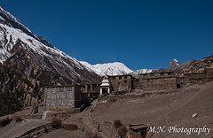 "The gate of the tiny, remote, and altitudely village that called ""khangstar"" (Meir Naamat) Tags: nepal mountain ice temple village view himalaya  guesthouse   aroundannapurnatrack totilicho khangstar"