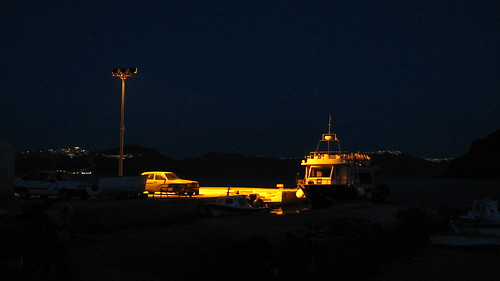 The port on Therasia at night