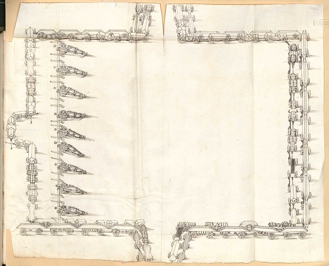 Early Modern manuscript warfare drawing -  Artilleriebuch 1582 BSB k