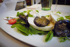 Mozzarella with aubergine and baby spinach
