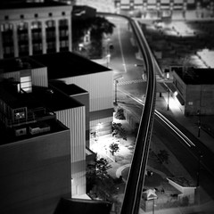 mono rail (.insomniac) Tags: longexposure night movement detroit peoplemover monorail