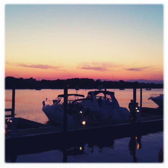 Watching the sun set at dinner, Sag Harbor