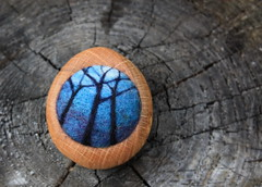 leafless trees (lilfishstudios) Tags: wood blue trees art nature night oak pin felting handmade ooak brooch craft needlefelting fiber sustainable salvagedwood
