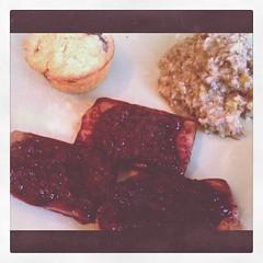 Baked tofu w/ blueberry sauce, kohlrabi puree, blueberry cornbread muffin