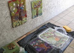 Felting in the proccess (atgaiva) Tags: tree wet birds felting process tapestry