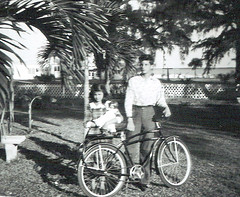 Bunny, Howard, and bike in 1948 - Fort Pierce, Florida (Howard33) Tags: bunny 1948 bike bicycle river drive december florida fort howard indian pierce schwinn goodrich bf wira