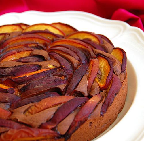 torta cacao pesche e zafferano