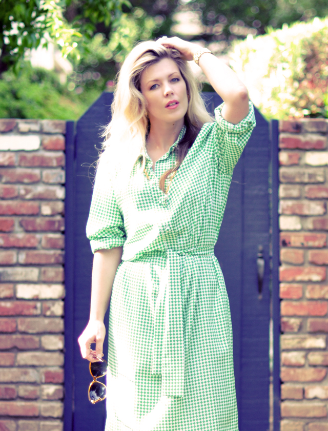 vintage shirt dress  +  green and white