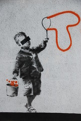 Banksy - 'Tox' (Sa//y) Tags: boy streetart london art graffiti stencil banksy bubbles urbanart spraycan tox