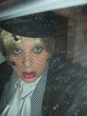 Last kiss (cilii_77) Tags: hat veil suit 50s lipstick crossdresser silkblouse stylefurcoat