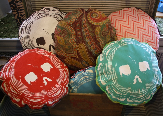 Skull pillows at Kanibal Home, Jersey City