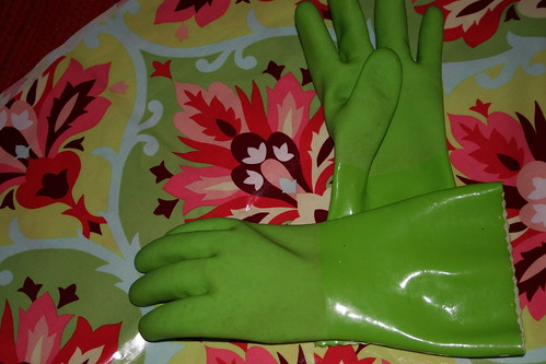 gloves and oil cloth