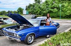 1969 Chevy Chevelle (Chad Horwedel) Tags: blue woman classic chevrolet girl car illinois model kilt woodridge chevelle chevy waitress chevychevelle 1969chevychevelle tilitedkilt