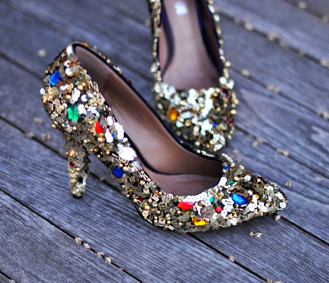 embellished heels + gold sequins and beaded shoes with gems