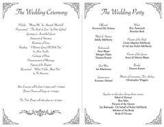 McHardy/Blaser wedding program - inside