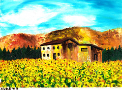 Living in the middle of sunflowers (Wasfi Akab) Tags: old pink flowers blue original trees houses light shadow red summer sky italy cloud brown white house mountain black mountains flower color tree green art nature beautiful beauty field grass yellow clouds painting paper landscape geotagged florence europe paint strada artist italia day artistic outdoor iraq hill east hills canvas sunflowers tuscany painter sunflower oil land impressionism firenze cypress exile middle toscana cypresses impressionist iraqi artista tuscan ocher middleast akab wasfi