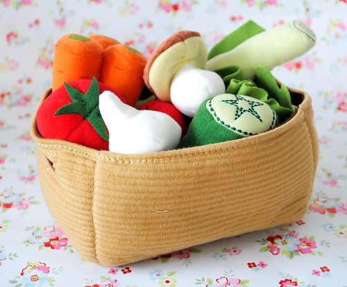 Basket of fabric vegetables