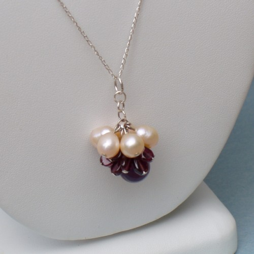 Sterling Silver Necklace – FW Pearls, Amethyst, Garnets