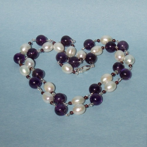 FW Pearl and Amethyst Sterling Silver Chain Necklace