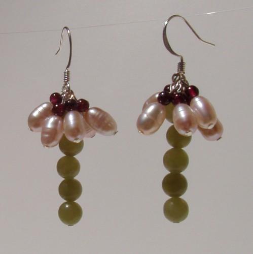 Pretty Flower Drop Earrings-Pink Pearl, Jade & Garnet.