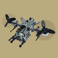 Kaze v9 - Gunship (Fredoichi) Tags: plane lego space military micro shooter vtol gunship shootemup skyfi shmup microscale dieselpunk skyfighter fredoichi