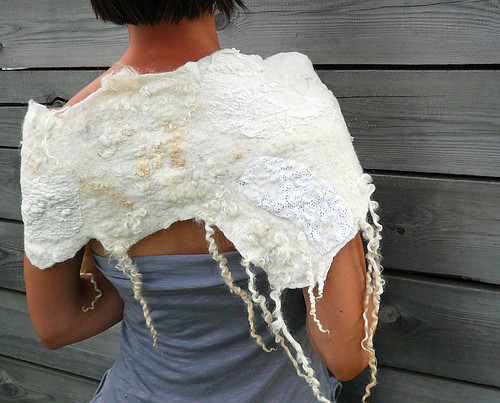 white scarf, nuno felted scarf, wool, rustic, wedding