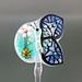 Single Bead : Blue Butterfly Flower Blossom