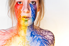 Rainbow. (evilibby) Tags: 365 3654 365days 365days4 libby girl human theteleidoscope rainbow facepaint blonde portrait makeup colourful bright brightcolours explored