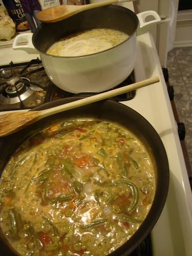 minestrone and corn chowder