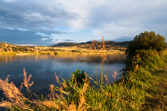 Banks of the Missouri River (greenschist) Tags: blue sunset usa water skyline montana craig missouririver