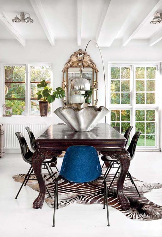 Eclectic Connoisseur - White dining room