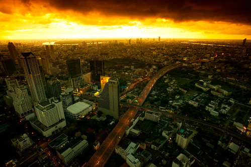 [Free Image] Architecture / Building, City / Town / Village, Sunset, Dark Clouds, Thailand, 201108162300