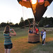 People took a short tip up and down in a hot air balloon.