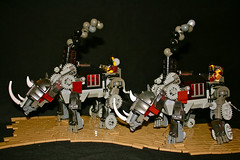 Steam Rhinos (Siercon and Coral) Tags: castle lego battle fantasy rhino rhinoceros mech steamfunk