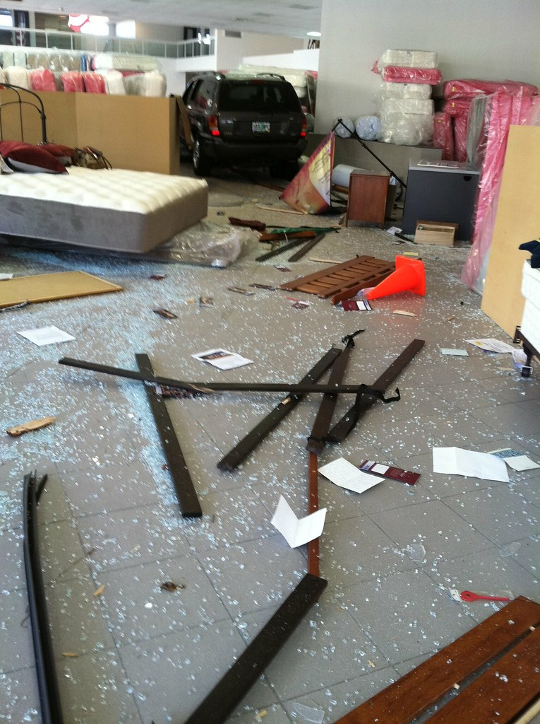 MATTRESS LOT PORTLAND OREGON SUV blasts through store destroying furniture and mattresses