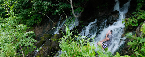 Cooling off during a steep climb up to Naganuma near Niseko, Hokkaido, Japan