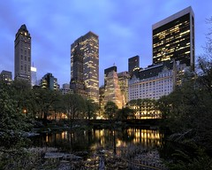 central park at dusk, nyc (andrew c mace) Tags: nyc newyorkcity longexposure skyline night pond cityscape centralpark manhattan wideangle tokina1224 plazahotel gmbuilding colorefex nikoncapturenx nikond90