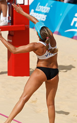London - Beach Volleyball 16 ([ Greg ]) Tags: uk ladies girls brazil england test usa london beach sport america sand events beachvolleyball tournament event international final bikini american finals gb brazilian series volleyball olympic olympics visa 2012 prepares horseguards london2012 locog