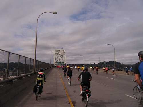 biking up the fremont bridge