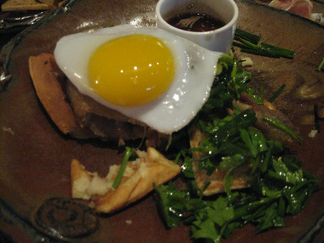 duck confit, waffle and duck egg