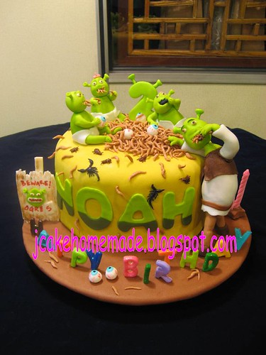 Fabulous Shrek Birthday Cake A Photo On Flickriver Funny Birthday Cards Online Elaedamsfinfo