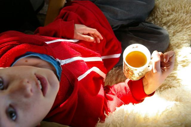his tea
