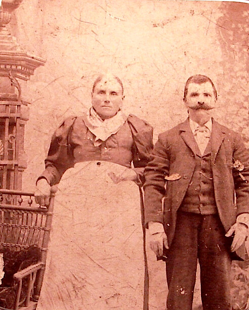 Antique Couple with apron
