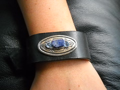 The Blue Bead Cuff (brightcreations1) Tags: leather beads costume jewelry crown headband